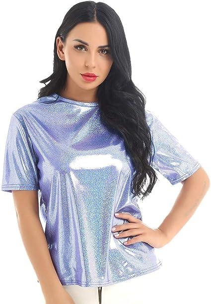 InvokerTech Camisetas Informales de Manga Corta para Mujer Blusa con Top Metalizado Cuello Redondo Brillante Clubwear Ropa de Fiesta (Azul): Amazon.es: Ropa y accesorios