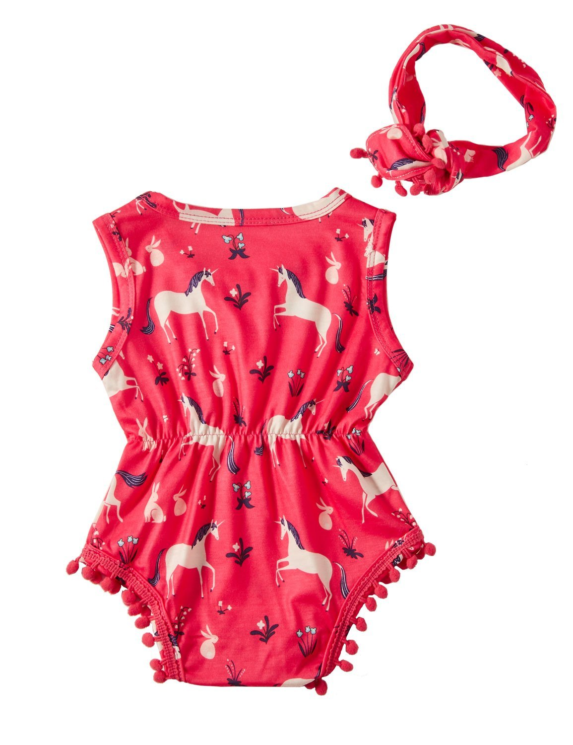 RAISEVERN Baby Girl Clothes Unicorn Horse Bodysuit Romper Sleeveless Bodysuits Outfits with Bowknot Headband Red