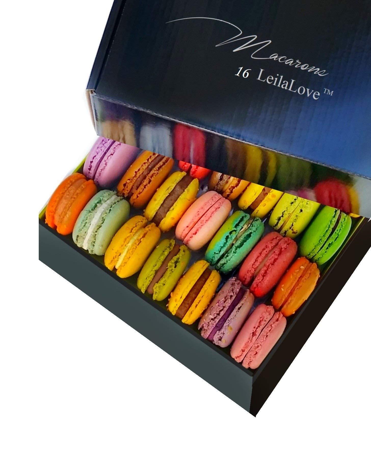 Leilalove Macarons - 16 Parisian Macaron Collections of dozen Flavors - Elegant Gentleman style gift box - Baked to Order