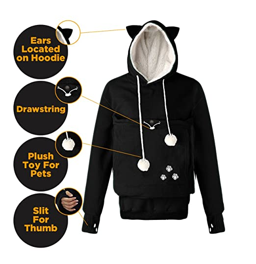 8b5d09a6623 Amazon.com  Petgaroo Womens Sweatshirt (Sizes Run Smaller) with Pet Holder for  Cats Kittens Dogs Puppies Pet Holder Kangaroo Pouch Hoodie (XL Black)  ...