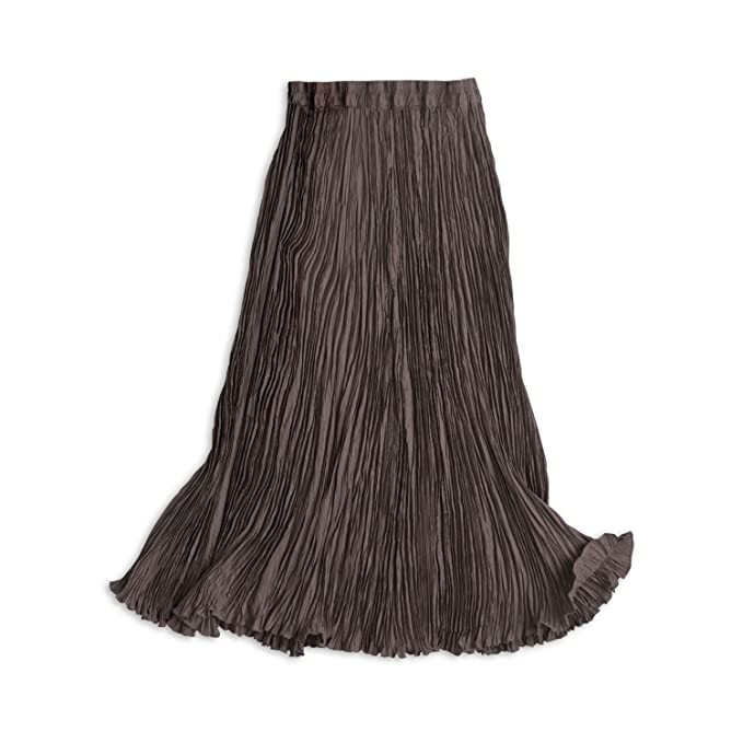 05e0a10792c WinterSilks Women s Plus Size Washable Silk Habutai Broomstick Skirt - 1X  Dark Taupe Gray