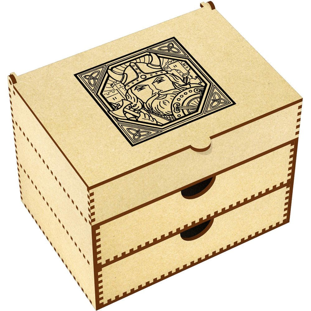 'Square Viking Motif' Vanity Case / Makeup Box (VC00004922) Azeeda
