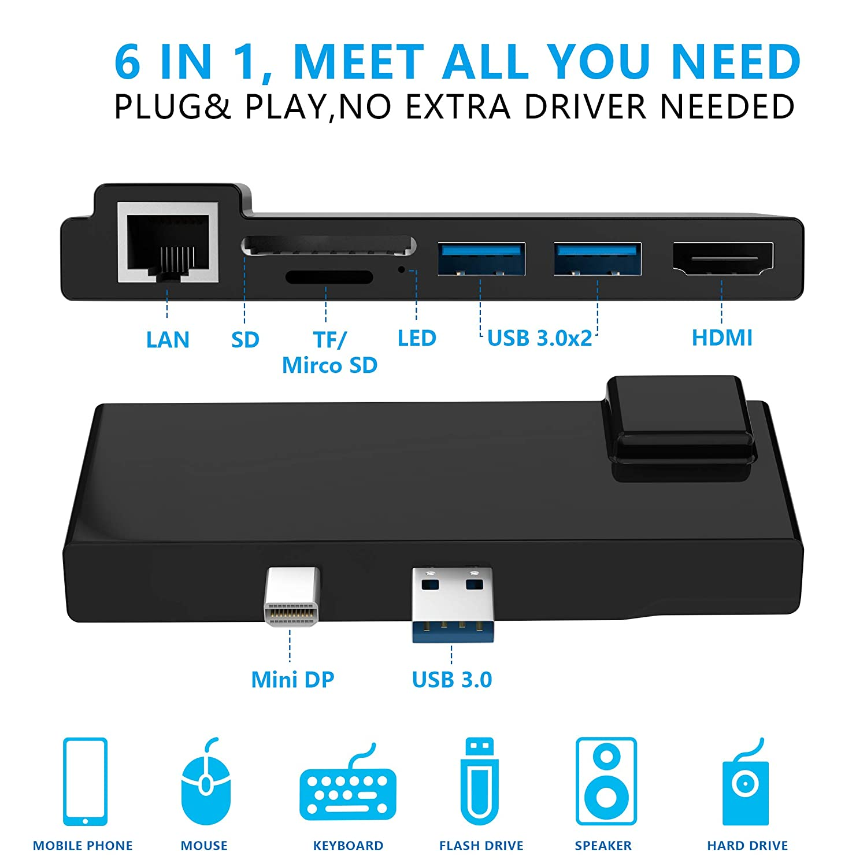 2 x USB 3.0 Ports 4K HDMI SD//Micro SD Card Reader for Surface Pro 2017//2018 KETAKY Microsoft Surface Pro 5 //Pro 6 USB 3.0 Hub Docking Station with Gigabit 1000Mbps Ethernet Port