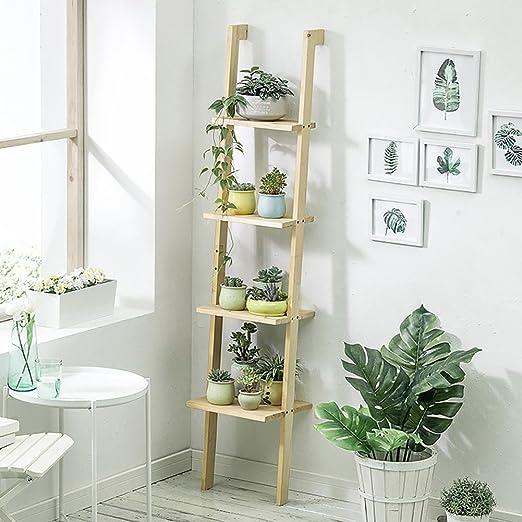RJZHJ europeo Sencillo Madera maciza Madera de pino escalera Puesto de flores Personalidad creativa Multicapa Trapecio