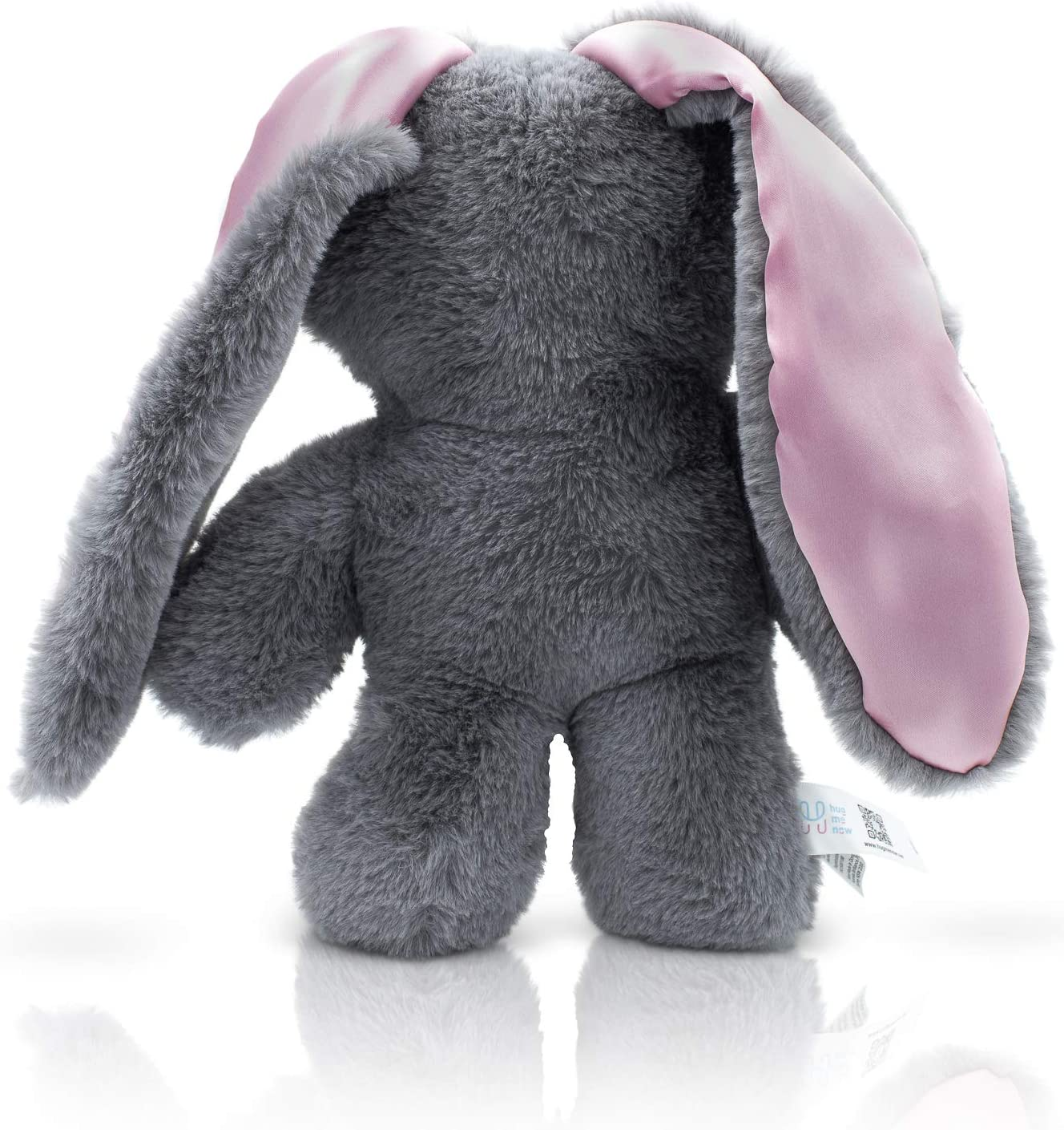 HugMeNow Plush Bunny Stuffed Animal for Therapeutic Calming, Cute Lop-Eared Bunnies for Snuggling, Sleep, Toy for Girls and Boys, 12 inches, Grey Plush(Pink)