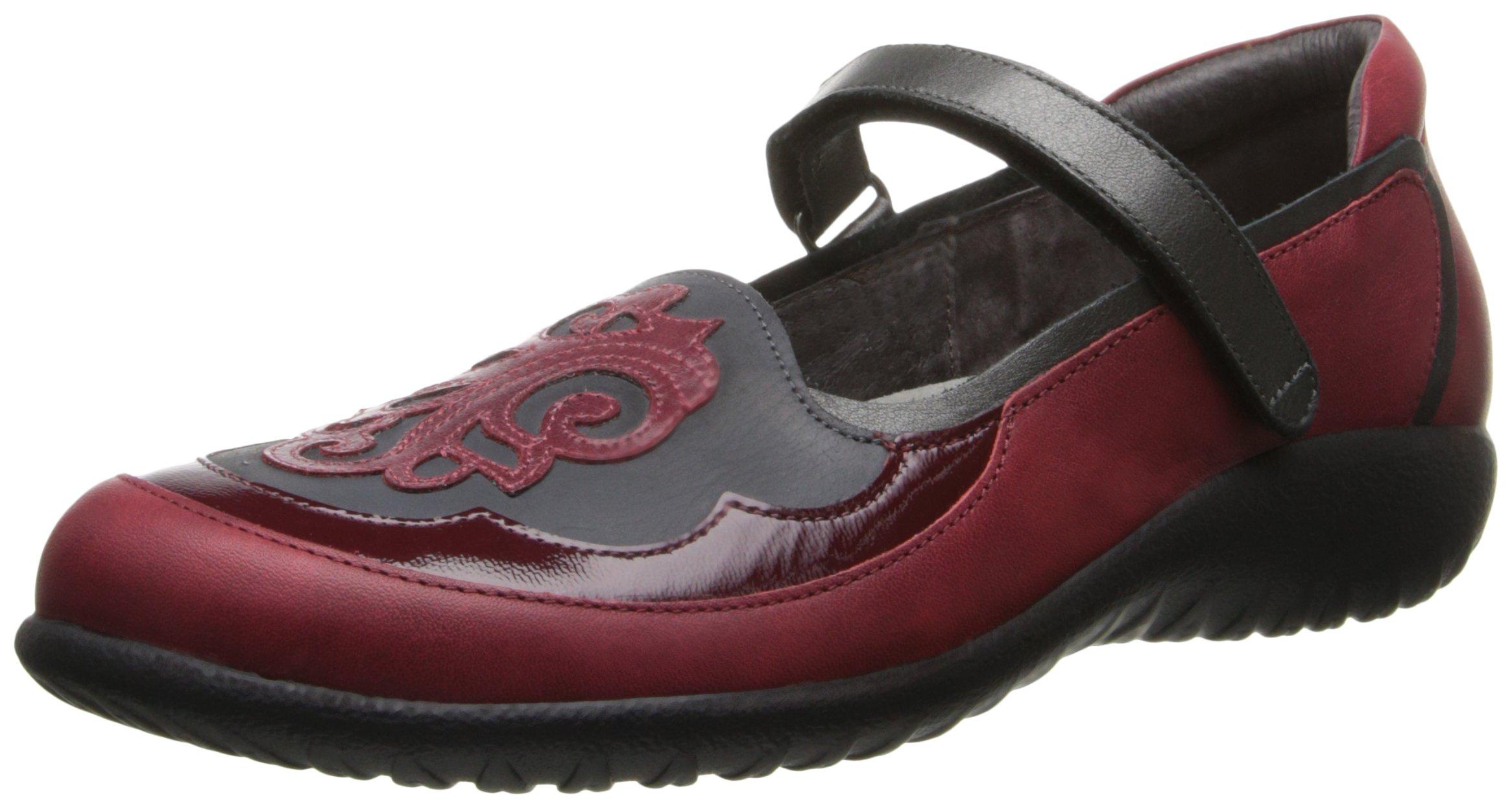 Naot Women's Motu Mary Jane Flat, Berry Leather/Black Leather/Beet Red Patent, 42 EU/10.5-11 M US
