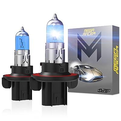 Mega Racer 1 Pair H13 9008 Headlight Bulbs 5000k Super Ultra White Low Beam High Beam Halogen Headlights Xenon White Halogen Headlights H13 Headlight Bulb Headlight Bulb H13: Automotive
