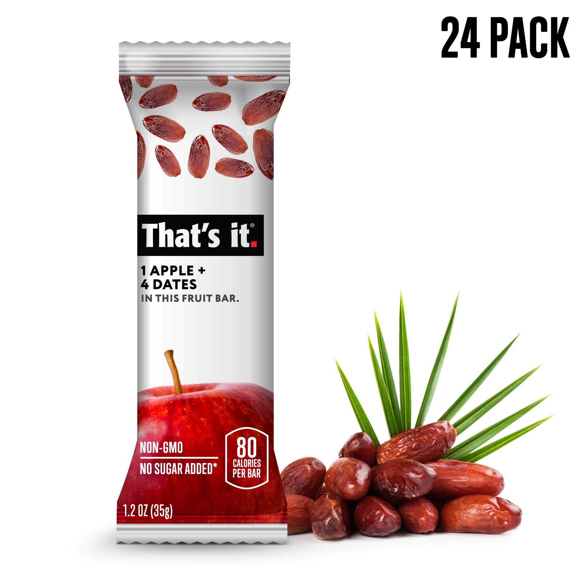 That's it. Apple + Date Fruit Bars 100% All Natural, No Artificial Ingredients or Preservatives Delicious Healthy Snack for Children & Adults, Vegan, Gluten Free, Paleo, Kosher, Non GMO (24 Pack)