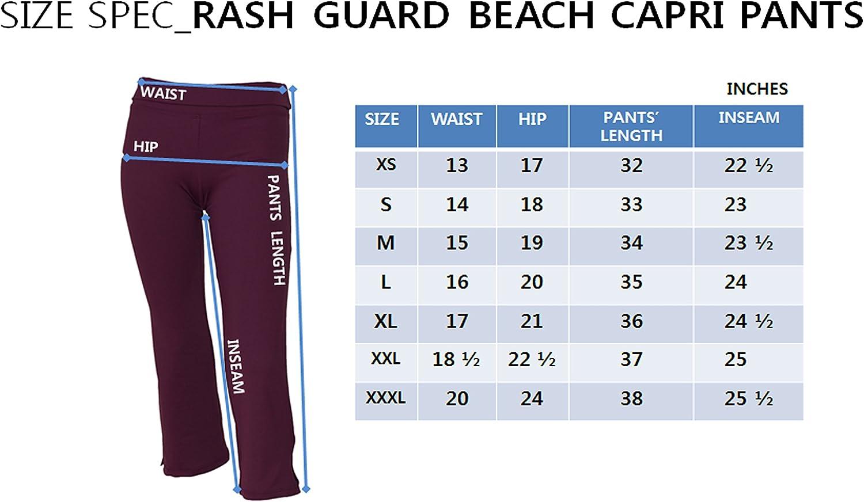 Private Island Women UPF 50+ Beach Capri Bootcut Pants Swimsuit Bathing Swim Rash Guard Bottom: Clothing