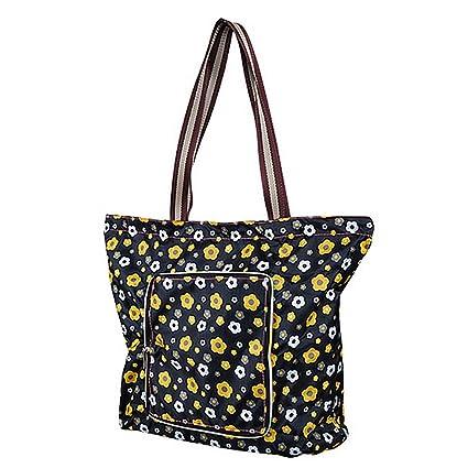 Millya - Bolsa para compras grande, creativa, impermeable y plegable. bolsa de viaje reciclable con bolsillo lateral., Oxford, negro, diseño de ...