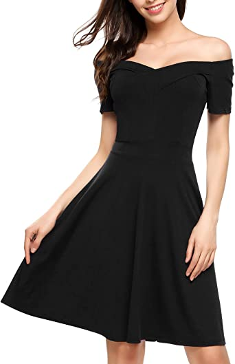Zeagoo Womens Elegant Summer Dress Short Sleeve Casual Dress Skater Dress Jersey Dress Knee-Length with Buttons on the Shoulder