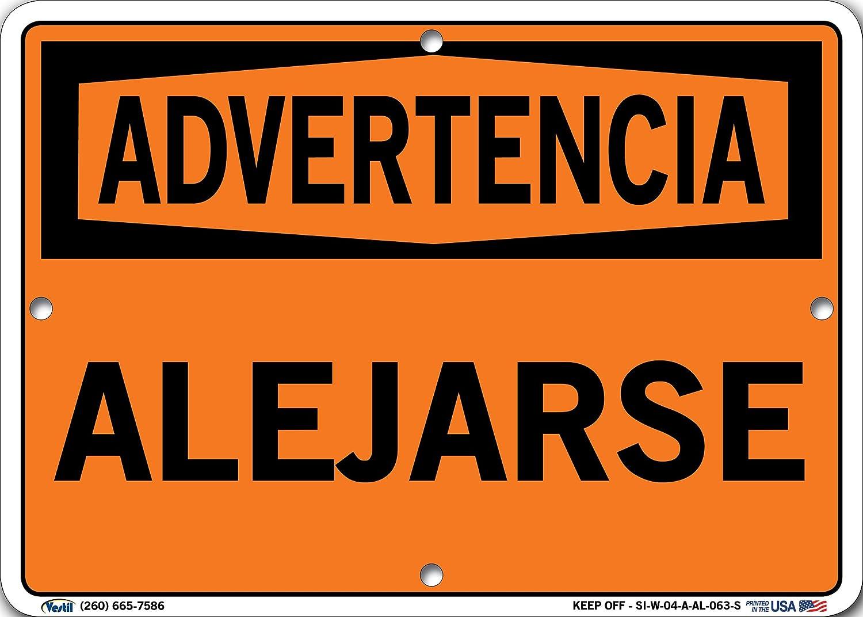 0.063 Overall Size 14.5 W x 10.5 H Aluminum Vestil SI-W-04-C-AL-063-S KEEP OFF//ALEJARSE Warning Sign