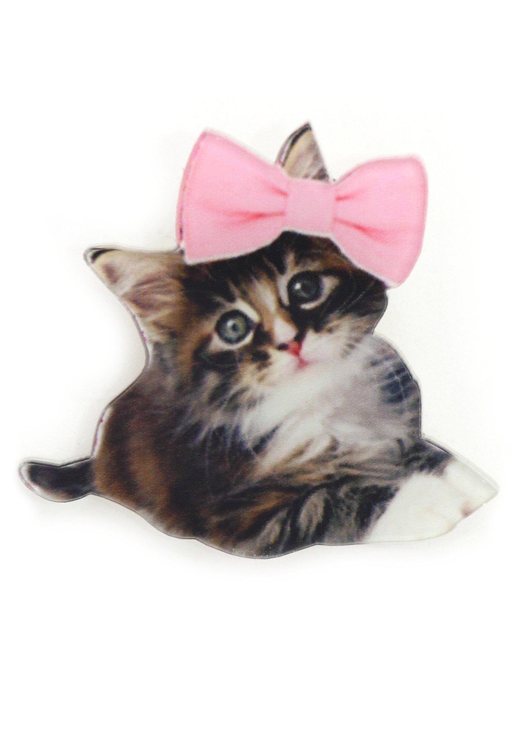 Baby Kitten Brooch Adorable Pet Kitty Cat Pin MA08 Pink Ribbon Bow Fashion Jewelry