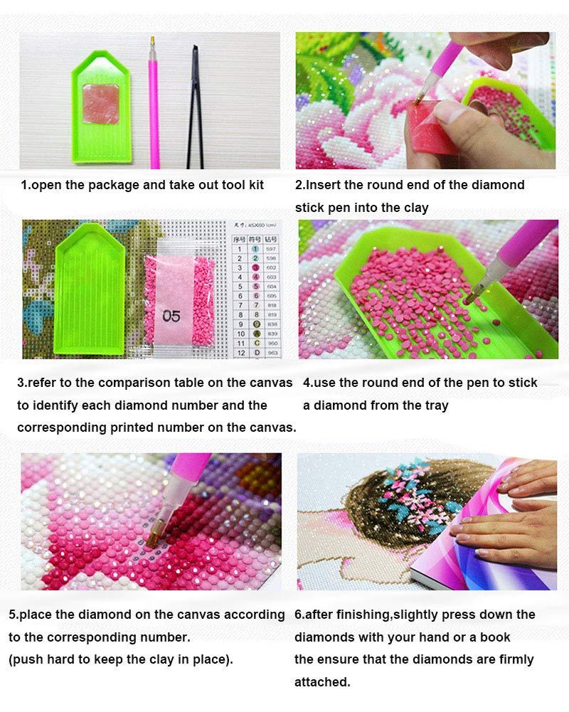 25cm GuoCu Diamond Painting Kit Completo Ricamo a Punto Croce con Lupo Modello,5D DIY La Pittura Pieno Trapano Strass Immagini Arti Mestiere Come Immagine 20 Trapano Circolare