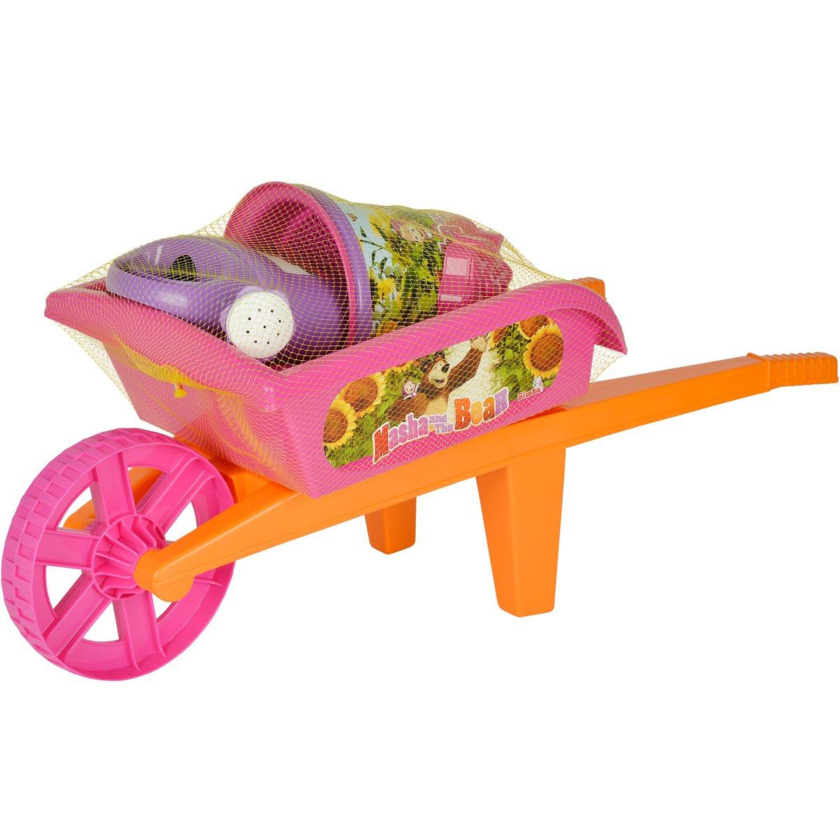 Masha und der Bär, Schubkarre, Set 8-teilig - Mascha Spielzeug für Draußen draussen Sandspiel Eimer Schaufel Gießkanne