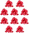"""Mata1 Pull Bows for Gifts (Red, 5 Inch, Set of 10), Medium 5"""" Pull String Bows for Presents, Ribbon Pull Bows for Christmas, Gift Wrapping Bows"""