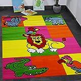 Kinderzimmer Teppich Bunt Gelb Pink Giraffe Elefant Vogel Zoo Kinderteppich NEU