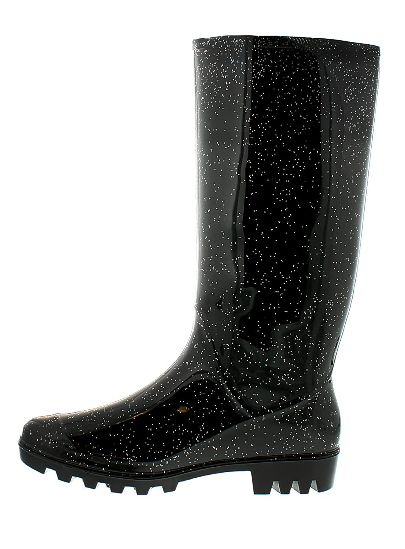 Damen/Damen Schwarz Langes Bein Pvc Gummistiefel Mit A Glitzer Fertig-schwarz Glitzer - UK GRÖßEN 3-8 - Schwarz Glitzer, 41