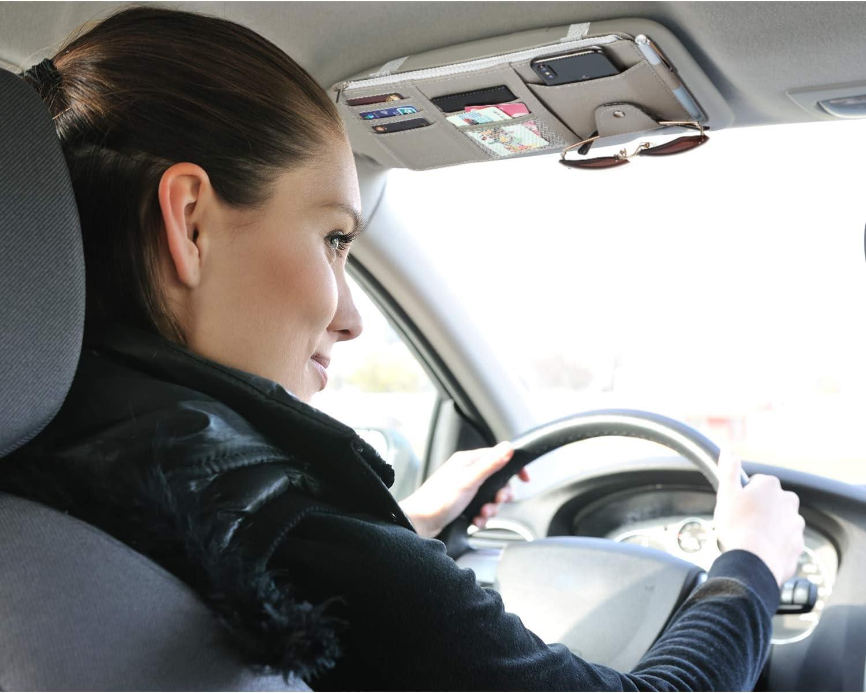 Auto Interior Accessories Pocket Organizer Registration and Document Holder Car Sun Visor Pen CD Card Storage Pouch Boao 2 Packs Car Visor Organizer with Adjustable Straps
