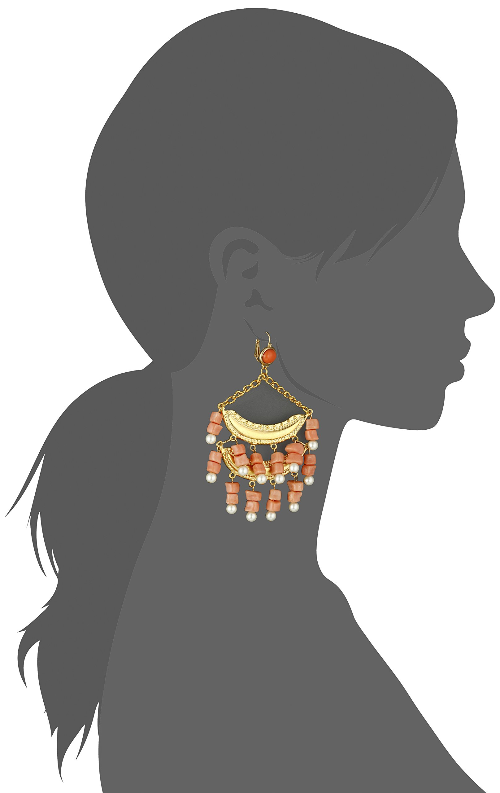 Kenneth Jay Lane 2 Tier Light Coral and Pearl Wire Top Drop Earrings by Kenneth Jay Lane (Image #2)