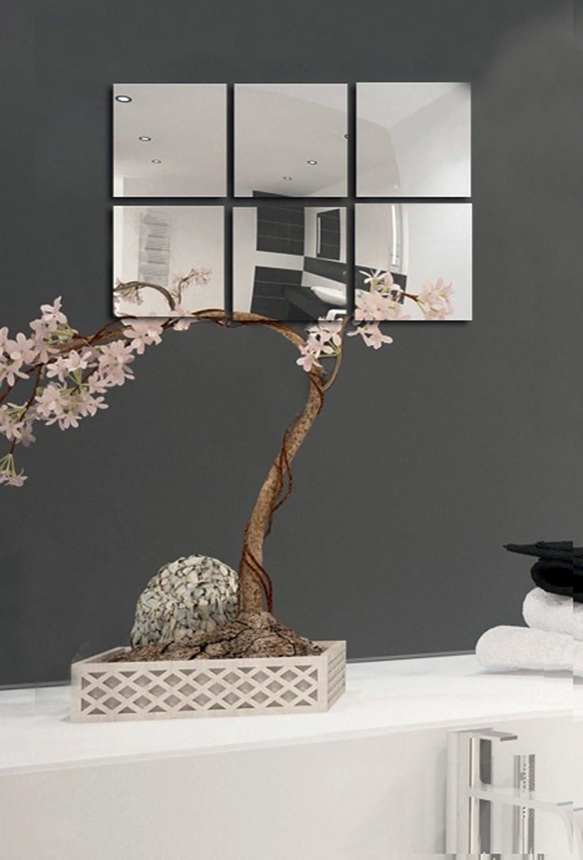 MSV Spiegel Spiegelfliesen Wandspiegel Fliesenspiegel selbstklebend 6 Stück - 10x10cm