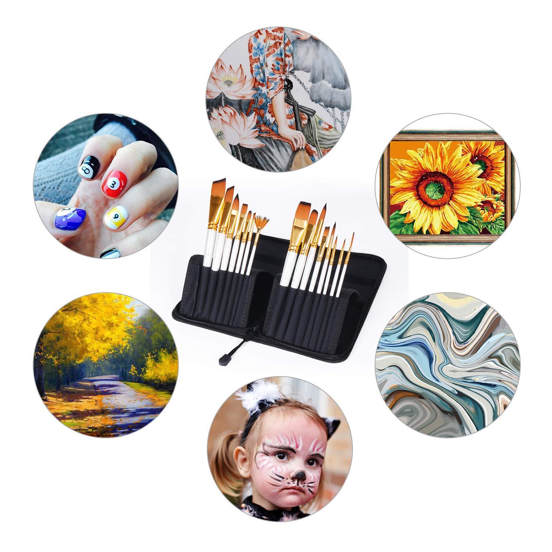 Gem/älde Liebhaber K/ünstler Pinsel Set f/ür Aquarellmalerei /Ölmalerei Flachpinsel B/ürste mit Palettenmesser und Schw/ämmen Nylon Pinsel f/ür Anf/änger K/ünstlerpinsel Acrylpinsel 18 St/ück Pinsel Set