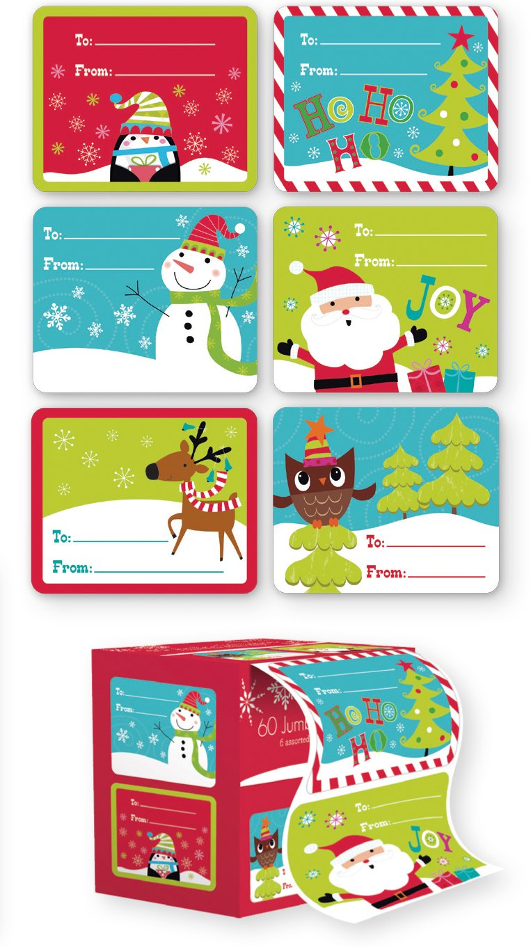 amazon com christmas gift tags self stick adhesive stickers holiday