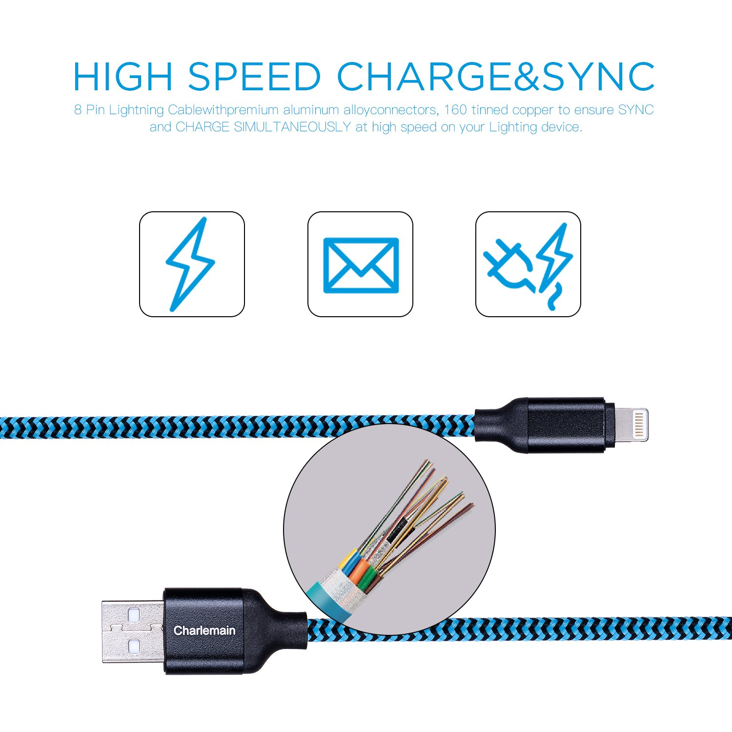Amazon.com: Charlemain Lightning Cable 3Pack 10ft iPhone Charger ...