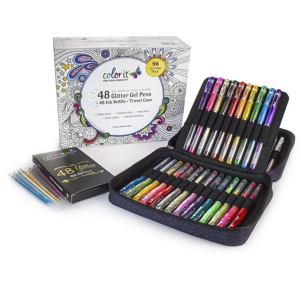 ColorIt 48 Glitter Gel Pens For Adult Coloring Books - ALL ...