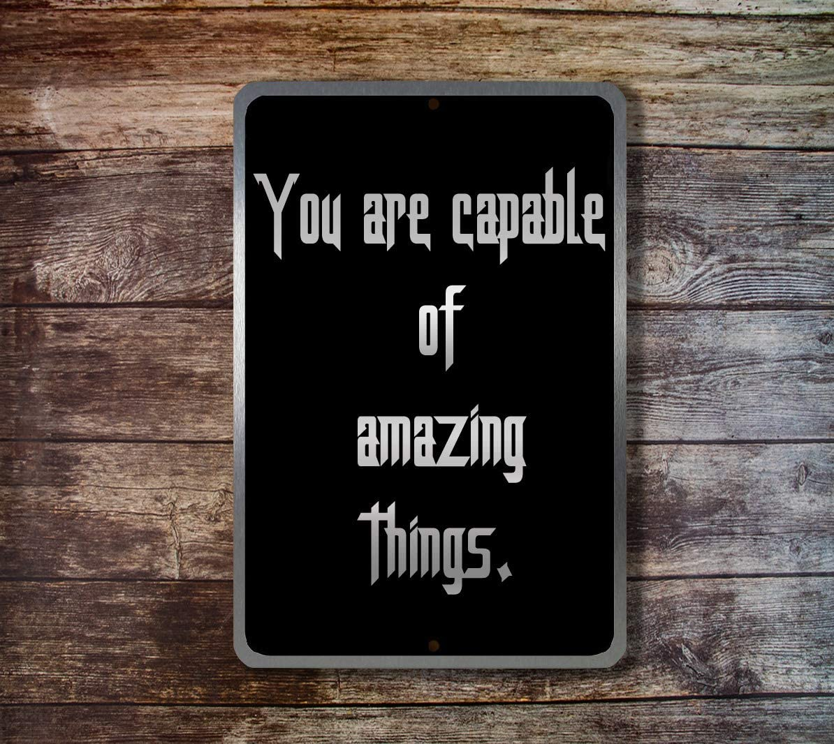 Yilooom You are Capable of Amazing Things Aluminum Metal Sign Novelty Wall Plaque Vintage Wall Art Inspirational Quotes Home Decor Accessories Gifts - 6 x 9 Inches