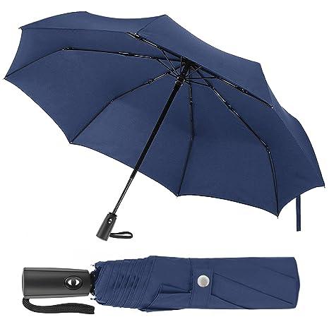 BeGreat Paraguas plegable y no húmedo, apertura y cierre automático, resistente y antiviento hasta