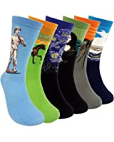 Famous Painting Art Printed Mens Dress Socks - HSELL Crazy Patterned Fun Crew Cotton Socks 6 Pack