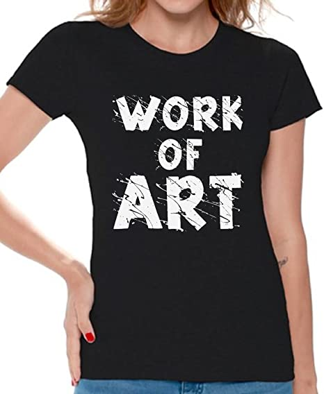 c045248f Awkward Styles Women's Work of Art Gym Graphic T Shirt Tops White Athletic  Build Workout Black