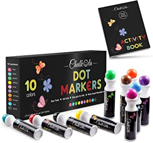 Washable Dot Markers for Kids with Free Activity Book | 10 Colors Set | Water-Based Non Toxic Paint Daubers | Dab Marker Kit for Toddlers & Preschoolers | Fun Art Supplies by Chalkola