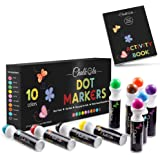 Washable Dot Markers for Kids with Free Activity Book | Large 10 Colors Set | Water-Based Non Toxic Paint Daubers | Dab…