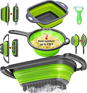 Collapsible Colander Set, Pasta Strainer Basket with Plastic Handles, Collapsible Strainers for Kitchen with Extendable Handles, Colanders & Food Strainers Over Sink Vegetable/Fruit, BPA Free.