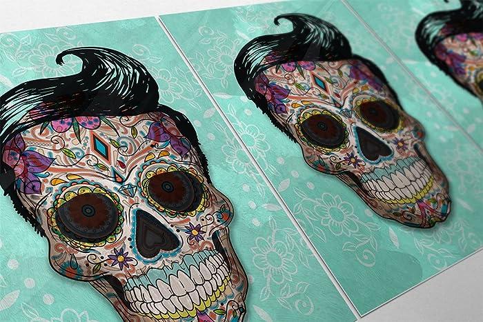 Amazon.com: Sugar Skull Mexican Retro Illustration Dia De Los ...