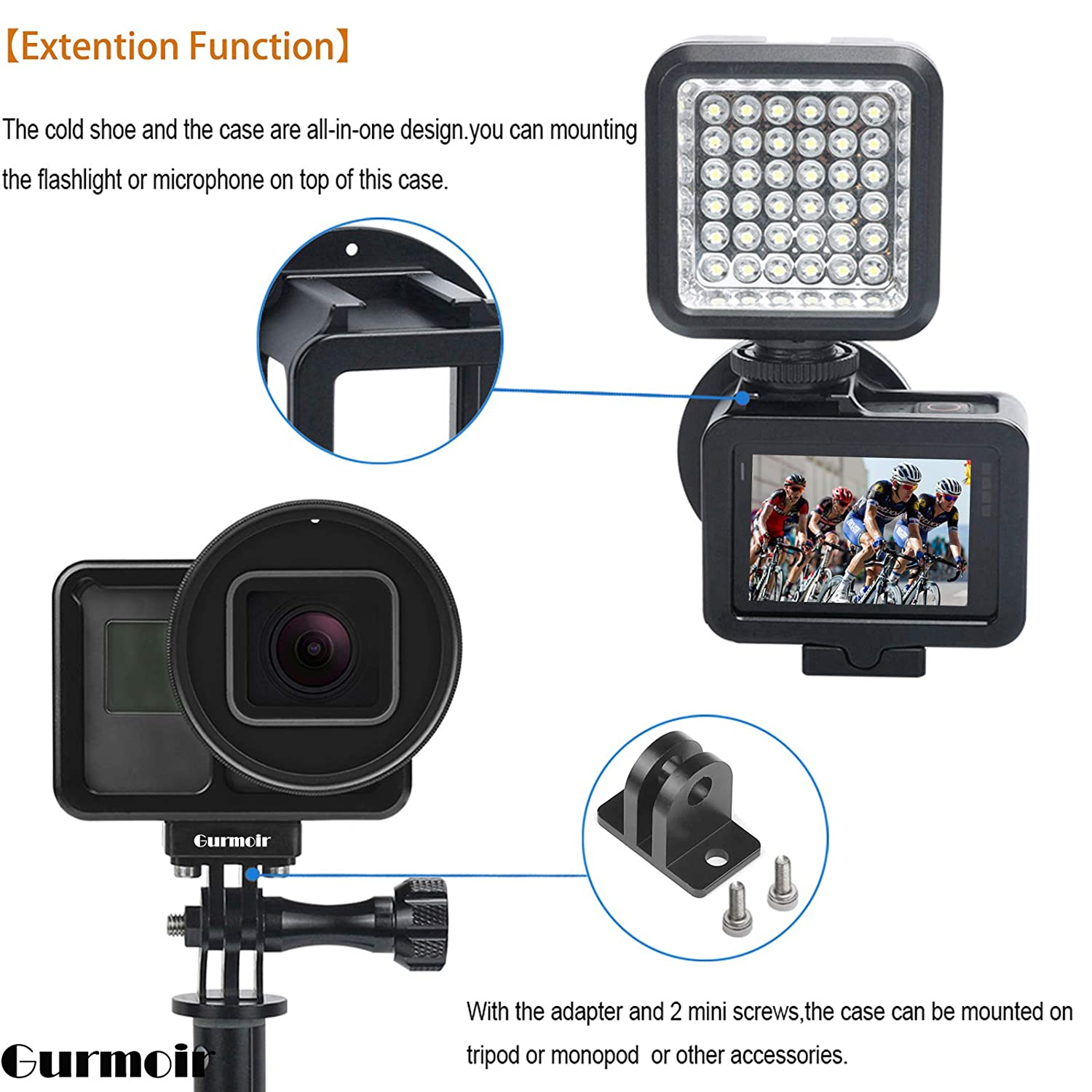 2018 Action Camera Gurmoir Protective Aluminum Alloy Skeleton Housing Case For Gopro Hero 5//Gopro HERO Metal Frame Protective Cage with Rear Door and 52mm UV Filter