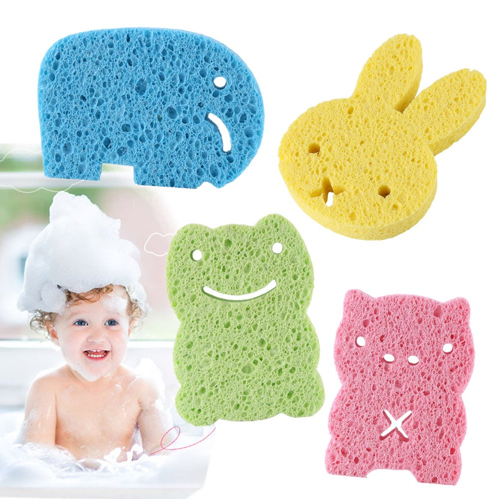 Baby Bath Sponge, 4PCS Animal Nature Fiber Cartoon Shower Brushes For Kids Children to Wash and Massage Body Suitable for All Skin Type