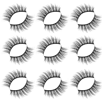 c219cf3287f Amazon.com : NewKelly Sexy Lady Long Natural Luxury 9Paire 3D False Lashes  Fluffy Strip Eyelashes Party Makeup (B) : Beauty