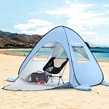 3a0eeae2b1 WolfWise UPF 50+ Easy Pop Up 3-4 Person Beach Sun Shelter Tent Portable