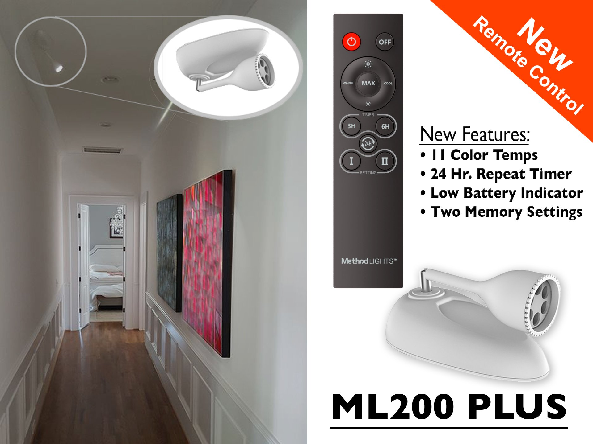 Contemporary Wireless Picture Accent Light with Remote Control Battery Operated Art Light
