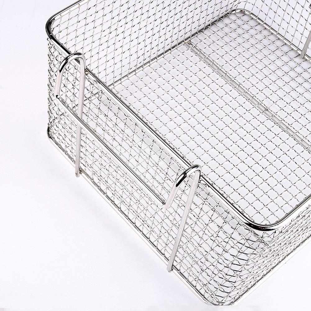 paletur88 Cestino per friggere Cibo Manico in plastica Filtro Staccabile Utensile da Cucina Quadrato Friggitrice da Appendere in Acciaio Inossidabile