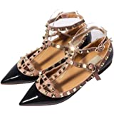Katypeny Womens Sexy Stud Buckle Shallow Mouth Pointed Toe Flat Pump Shoes