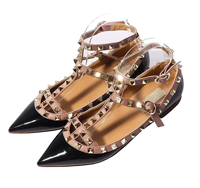 Amazon.com | Katypeny Womens Sexy Stud Buckle Shallow Mouth Pointed Toe Flat  Pump Shoes | Pumps