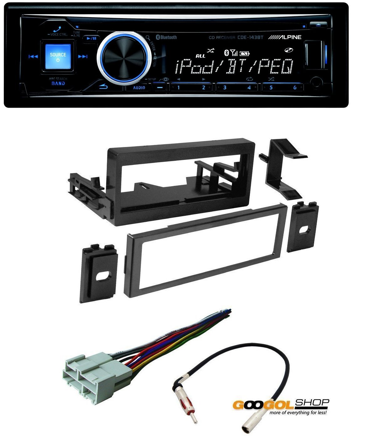 CAR STEREO DASH INSTALL MOUNTING KIT + WIRE HARNESS + RADIO ANTENNA FOR CADILLAC CHEVROLET GMC With Alpine CDE-143BT Advanced Bluetooth CD Receiver by CACHE, METRA, AMERICAN INTERNATIONAL, ALPINE