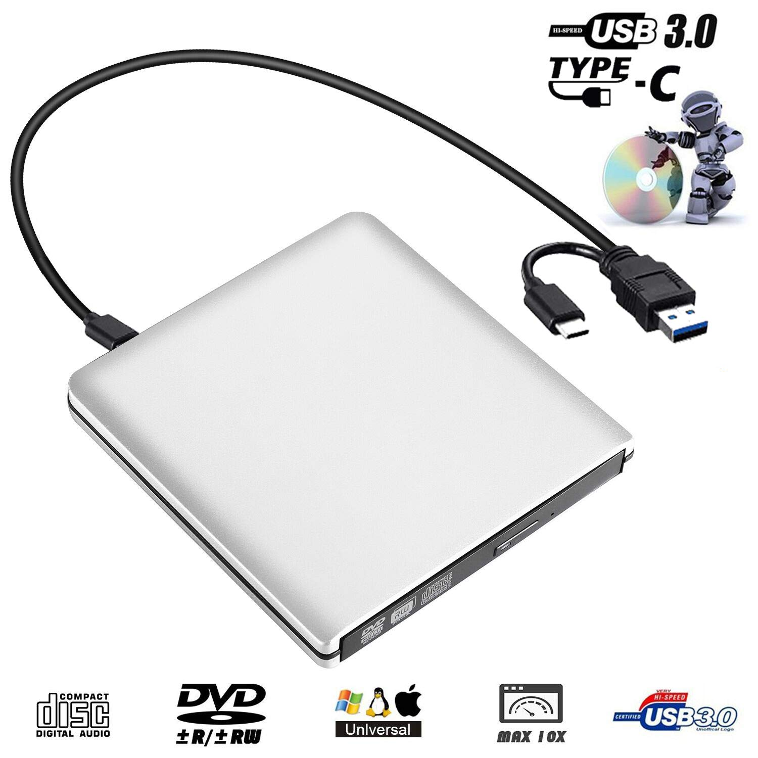 Amazon.com: emmako externo USB 3.0 reproductor de CD DVD ...