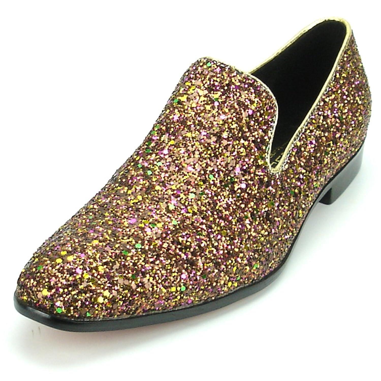 Shoes FI-7078 Rose Glitter Slip on Loafer