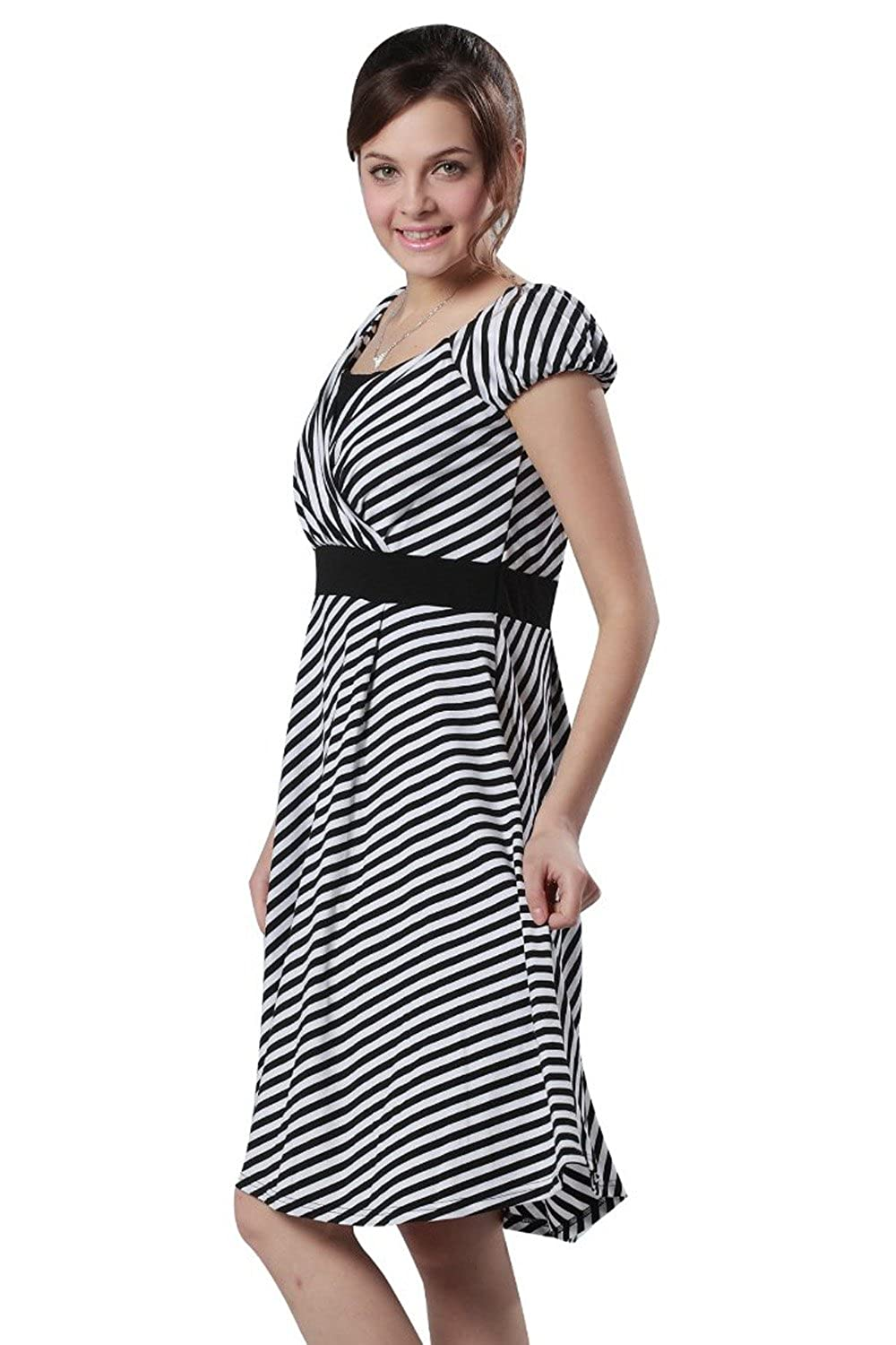 Border Half Sleeve Maternity and Nursing Dress