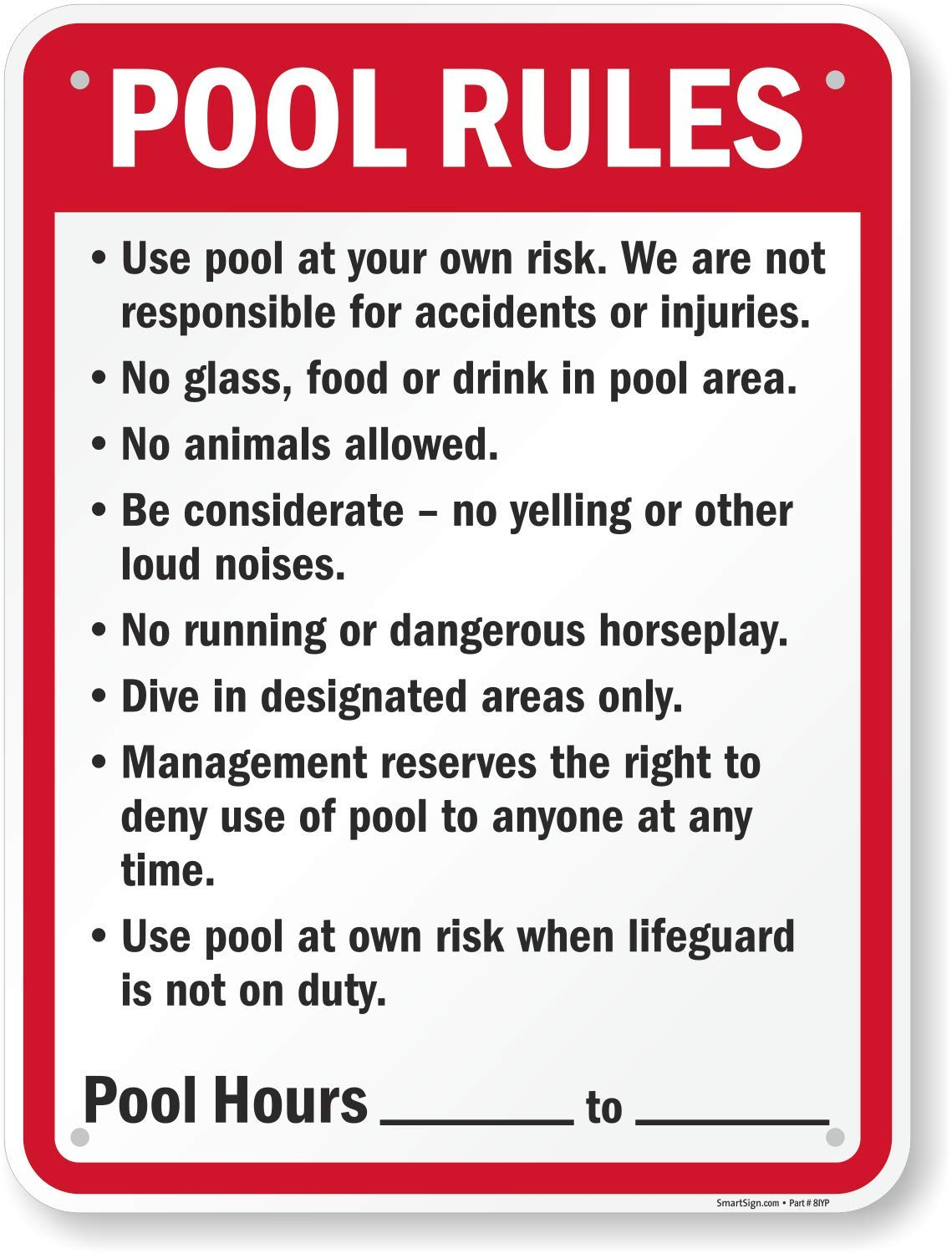 SmartSign ''Pool Rules'' Sign | 18'' x 24'' Plastic by SmartSign